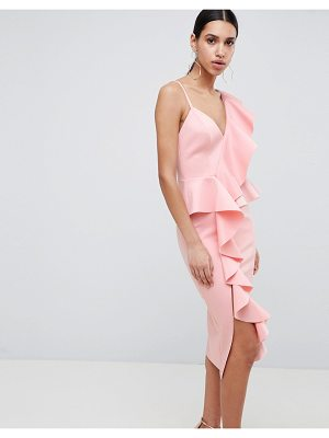 ASOS Design Scuba Asymmetric Ruffle Front Midi Dress