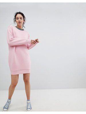 Asos DESIGN Scuba Cocoon Sweat Dress With Rib Trim