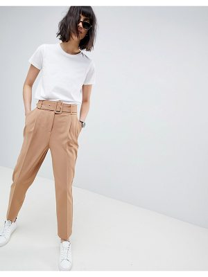 ASOS Design Self Buckle And Belt Tapered Pants