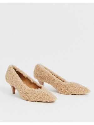 ASOS DESIGN sensation kitten heel pumps in teddy fleece