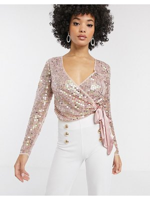 ASOS DESIGN sequin wrap top with bow in pink