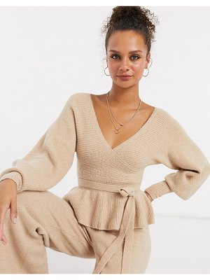 ASOS DESIGN set wrap sweater with tie waist detail in oatmeal-brown
