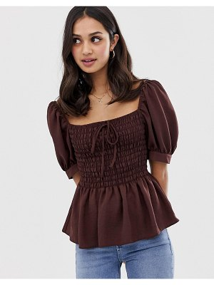 ASOS DESIGN shirred front square neck top