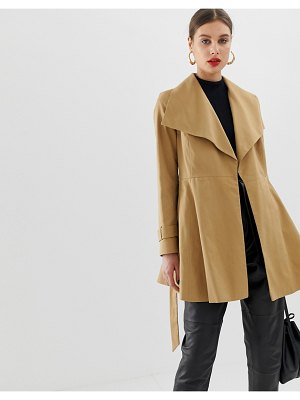 ASOS DESIGN skater coat with tie belt-stone