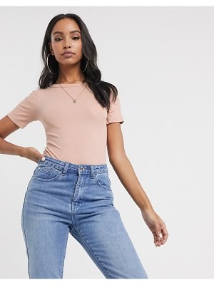 ASOS DESIGN skinny fit t-shirt bodysuit in rib in nude-beige
