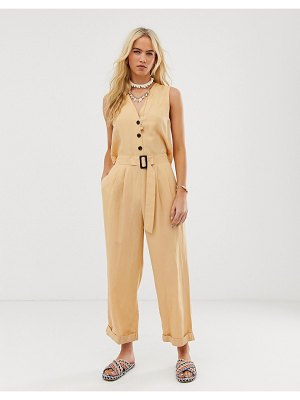 ASOS DESIGN sleeveless boilersuit with open back and buckle