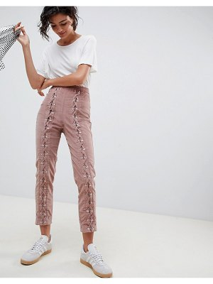 ASOS DESIGN slim cord pants with lace up detail