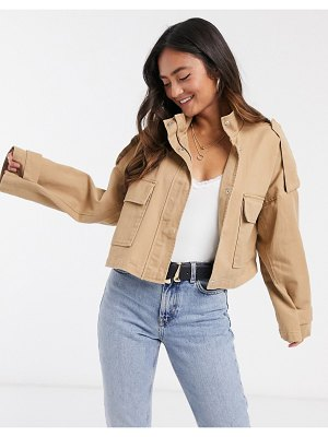 ASOS DESIGN slouchy lightweight cropped jacket in stone-pink
