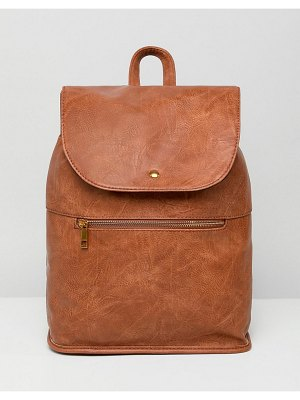ASOS DESIGN soft backpack with zip detail-tan