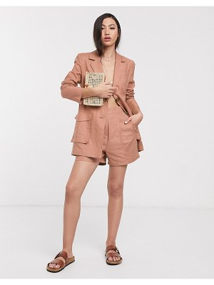 ASOS DESIGN splendid linen suit shorts-brown