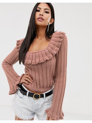 ASOS DESIGN square neck stitch detail sweater with ruffle