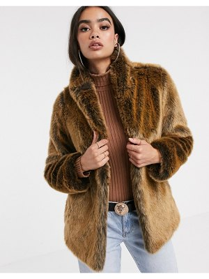 ASOS DESIGN stand collar faux fur coat in brown