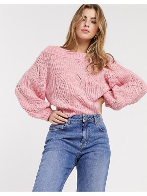 ASOS DESIGN stitch detail chunky bardot sweater in recycled blend-pink