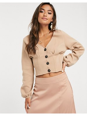 ASOS DESIGN structured knit cardigan with volume sleeve