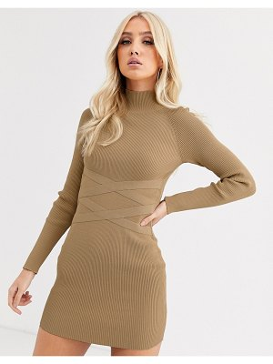 ASOS DESIGN structured knit mini dress with waist detail-stone