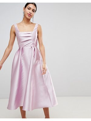 ASOS DESIGN structured prom midi dress with square neck