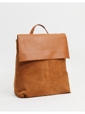 ASOS DESIGN suede backpack with leather flap in tan-brown