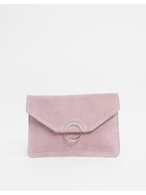 ASOS DESIGN suede clutch bag with ring and ball detail-pink
