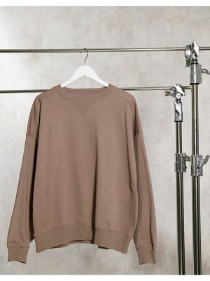ASOS DESIGN super oversized cocoon sweatshirt with panel detail in taupe-cream