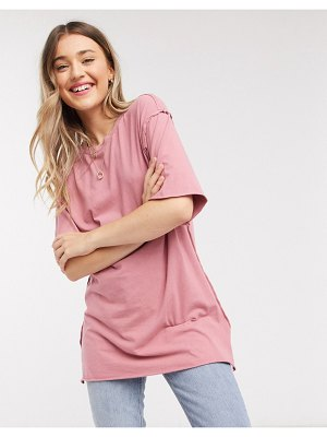ASOS DESIGN super oversized t-shirt with exposed seams in washed rose-pink
