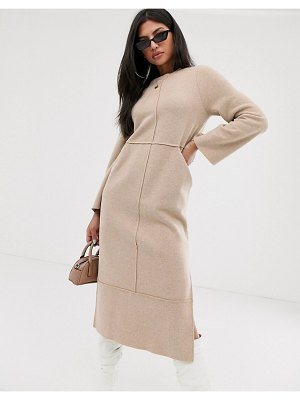 ASOS DESIGN super soft exposed seam patch pocket midi dress in camel-beige