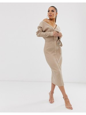 ASOS DESIGN super soft rib belted fallen shoulder midi dress in camel-beige