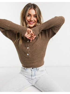 ASOS DESIGN sweater with crystal buttons in brown-cream