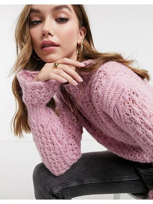ASOS DESIGN sweater with lace stitch and frill sleeve detail in pink