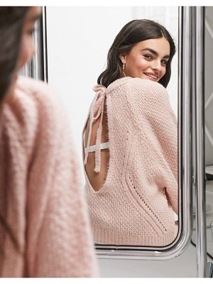 ASOS DESIGN sweater with open back detail in light pink