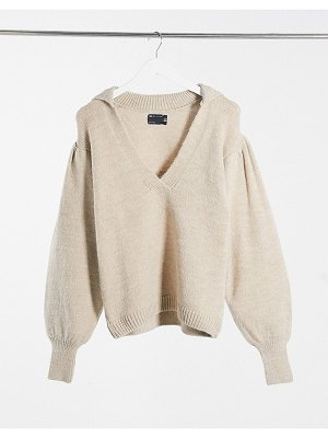 ASOS DESIGN sweater with open collar detail in oatmeal-beige