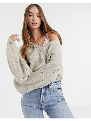 ASOS DESIGN sweater with v-neck and sleeve stitch detail in taupe-stone