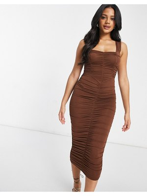 ASOS DESIGN sweetheart neckline ruched midi body-conscious dress in chocolate-brown