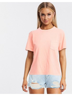 ASOS DESIGN t-shirt with pocket in washed coral-pink