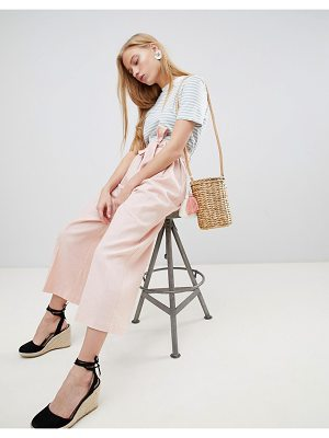 ASOS DESIGN tailored linen culottes with tie waist