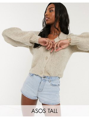 ASOS DESIGN tall cardi with puff sleeve-stone