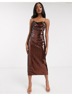 ASOS DESIGN tall cowl neck all over sequin midi cami dress-brown