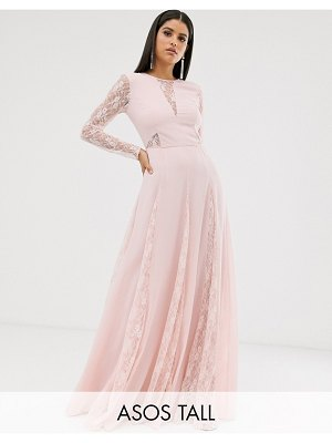 ASOS DESIGN tall maxi dress with long sleeve and lace paneled bodice