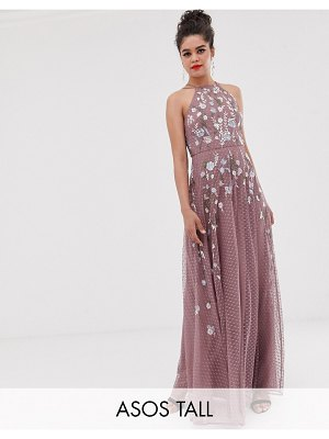 ASOS DESIGN tall maxi dress with pinny bodice in embroidered dobby