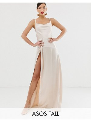 ASOS DESIGN tall maxi dress with thigh split and cowl neck in satin
