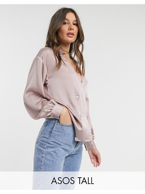 ASOS DESIGN tall satin wrap tux shirt in dusty pink