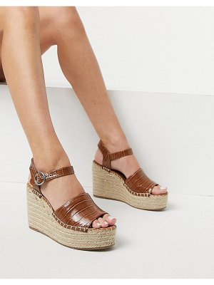 ASOS DESIGN tanya espadrille wedges in tan croc-brown