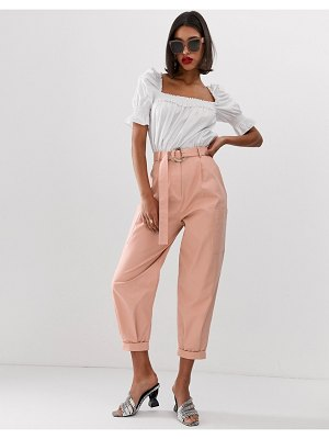 ASOS DESIGN tapered cargo utility pants with buckle detail