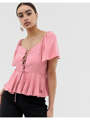 ASOS DESIGN tea blouse with lace up front detail