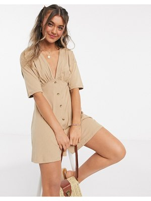 ASOS DESIGN tea dress with horn buttons in camel-brown