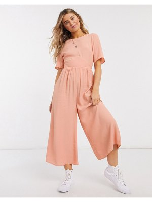 ASOS DESIGN tea jumpsuit with button back detail in pale rust-brown