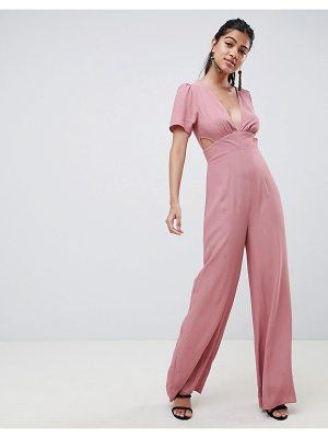 ASOS DESIGN tea jumpsuit with cut out detail and wide leg