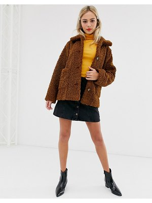 ASOS DESIGN teddy button through coat