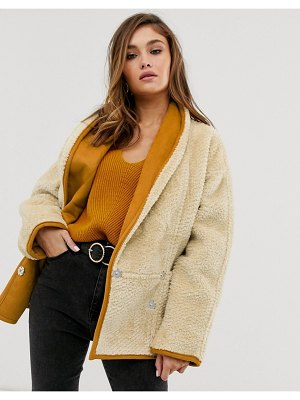 ASOS DESIGN teddy coat with shawl collar in cream