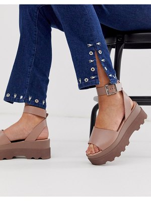 ASOS DESIGN temple leather flatform sandals in beige