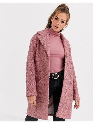 ASOS DESIGN textured cocoon coat in pink